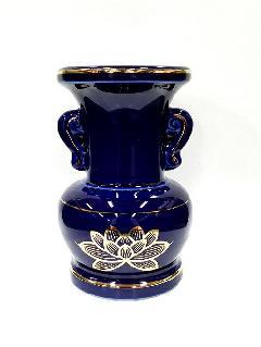 △花瓶・花立 大玉仏花 ルリ上金ハス 3.5寸×1ケース(16ヶ入)