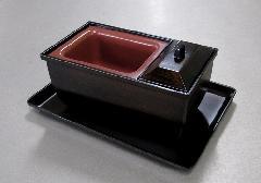 ■やすらぎ香炉5.0寸 木目色+ 名刺盆 小 木目色のセット
