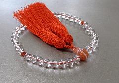 ■女性用片手念珠 水晶7�o玉縞瑪瑙仕立 正絹細房 桐箱