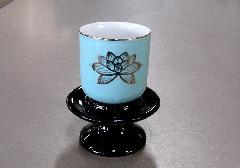 ★茶台 1.6寸用 黒無地 陶器製
