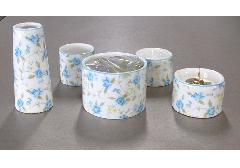 ●ゆい花 佛具5点セット (陶器製) 丸型香炉 ロマネス シアン