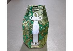■六角骨覆 骨袋六角 2.0寸用 並金襴 分骨袋 緑