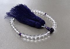 ●女性用片手念珠 水晶紫水晶仕立 正絹細房 桐箱入