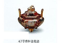 ◇九谷焼香炉 4.7号香炉金花詰