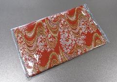 □念珠袋 経本数珠入 両袋チャック付 西陣織 ビニールカバー付 オレンジ