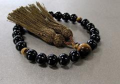 □男性用片手念珠 黒檀虎目石仕立 正絹頭房