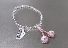 ○女性用片手念珠 水晶7�o玉共仕立 かがり梵天3色房 ピンク
