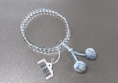 □女性用片手念珠 水晶7�o玉共仕立 かがり梵天3色房 ブルー