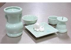 ■具足セット ペット用陶器仏具6点セット グリーン ※在庫処分特価品