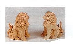 ◇木彫こま犬 4.0寸 白木