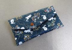 □念珠袋 西陣織 ウサギ柄 ブルー
