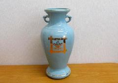 △花瓶・サギ型花立 青磁井桁橘サギ 8.0寸×一対(2本入)