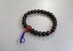 □腕輪念珠 縞黒檀赤瑪瑙仕立