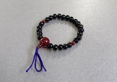 □腕椀念珠 縞黒檀赤瑪瑙仕立  ※在庫処分特価品