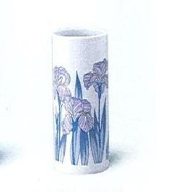 ◇陶器製花瓶 アヤメ投入 6.5寸