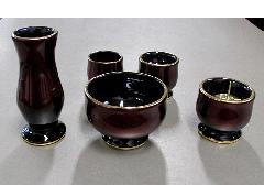 ★さやか5点セット 陶器漆ワインレッド カシュー塗