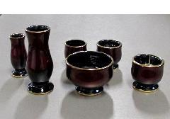 ★さやか6点セット 陶器漆ワインレッド カシュー塗
