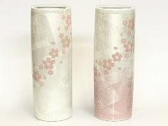 ◇九谷焼花瓶 九谷銀彩6号寸胴 桜
