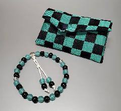 ☆子供用 念珠・念珠袋セット 市松模様 西陣織