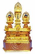 ◇木製仏像 三宝尊 金箔 1.0寸
