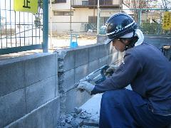 埼玉県新座市 外構のブロック塀 解体工事