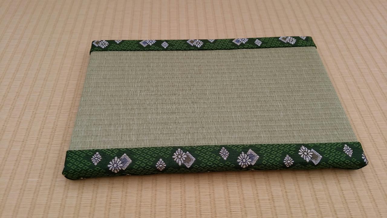 縁 アラベスク�U(緑) 和紙表(銀白色) 長型