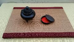 縁 浮(赤) 和紙表(亜麻色)