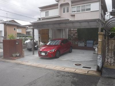 間口が広くなり駐車場スペースがかなり広くなりました。