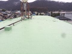 屋上 塩ビシート、ウレタン塗膜複合防水