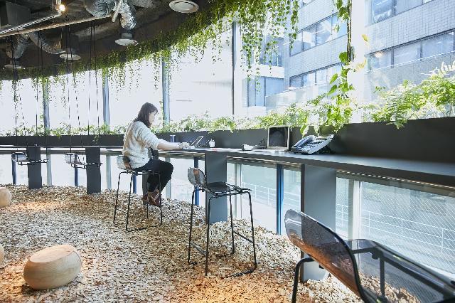 """植物×水×IoTを使った""""未来の公園""""を体感できるオフィスです。"""