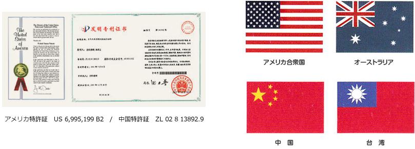 ヘルスコ・キュアーの特許 アメリカ合衆国・オーストラリア・中国・台湾