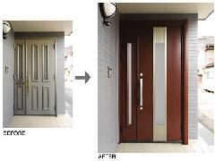 「ラフォースR2」三協アルミ リフォーム玄関ドア