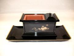 焼香盆セット ノンスリップ6.0寸 黒(フチ金)蓮