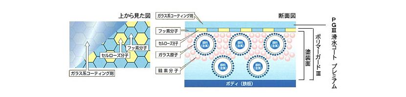 コーティング剤の科学的結合イメージ図