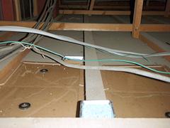 初日 天井裏に施工した粘着版と殺鼠剤