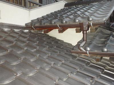 調査の結果、玄関の下屋根にハクビシンの足跡が点々と有りました。その先は玄関の屋根に向かっています。