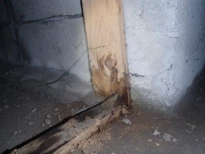 床下の土間コンクリートと布基礎の接合部に隙間が