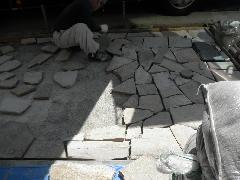 東京都文京区個人邸新築工事、石、タイル工事