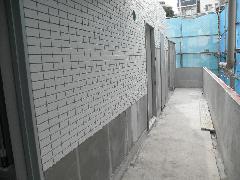 神奈川県横浜市マンション新築工事、外壁タイル工事
