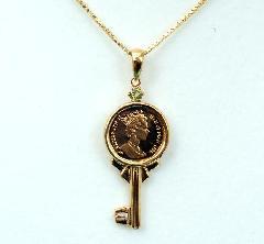 コイン鍵型ペンダント(チェーン付)