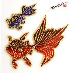 金彩友禅立体ラバーシール<Goldfish> 金魚