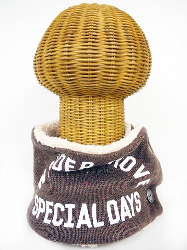 サイドボタン付き 裏地ボア ニットネックウォーマー(カラーネップ フロッキープリント モカブラウン) WNBSA008R-51