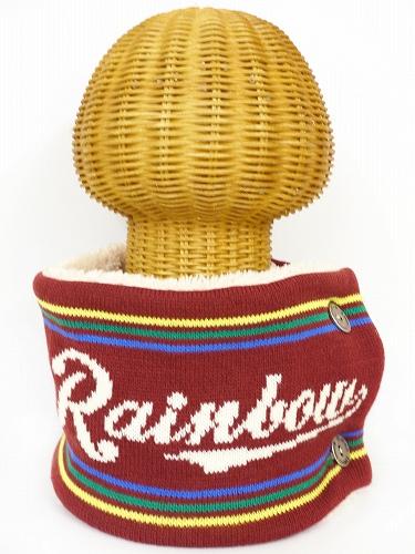 サイドボタン付き 裏地ボア ニットネックウォーマー(RAINBOWロゴ エンジ) WNBSA018R-94