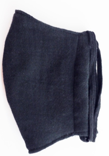 MK綿100ガーゼ4重構造立体縫製洗えるマスク(Mサイズ)(クロ)MKMT001M-50
