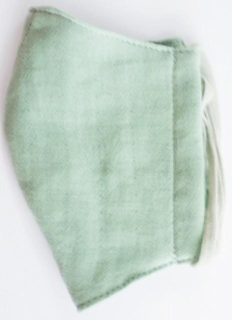 MK綿100ガーゼ4重構造立体縫製洗えるマスク(Mサイズ)(ソフトグリーン)MKMT001M-68