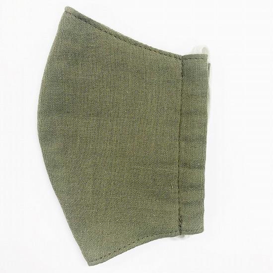 ナノファイン加工綿100%立体縫製洗えるマスク(Lサイズ)(カーキ)MKLT002M-77