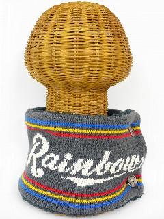 サイドボタン付き 裏地ボア ニットネックウォーマー(RAINBOWロゴ グレー) WNBSA018R-30