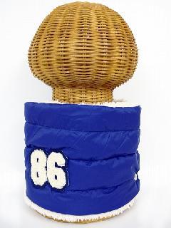 サイドボタン付き 裏地ボア ダウンネックウォーマー(86ワッペン付 ブルー) WNBSA014R-39