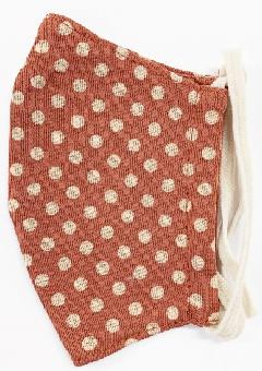接触冷感水玉柄洗えるマスク(Sサイズ)(ダルオレンジ)MKST004M-73