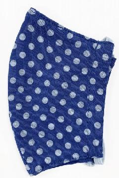 接触冷感水玉柄洗えるマスク(Sサイズ)(ブルー)MKST004M-39